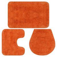 vidaXL Σετ Πατάκια Μπάνιου 3 τεμ. Πορτοκαλί Υφασμάτινα