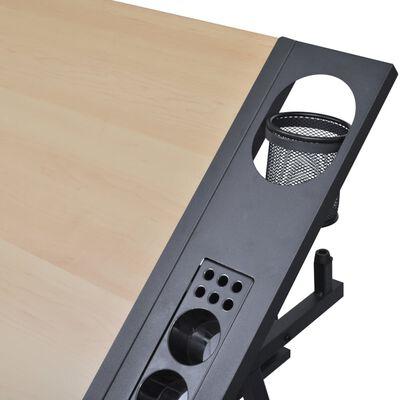 Τραπέζι σχεδιαστηρίου με δύο συρτάρια και αλλαγή κλίσης + Σκαμπό
