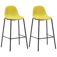 vidaXL Καρέκλες Μπαρ 2 τεμ. Κίτρινες Υφασμάτινες