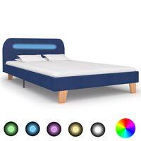 vidaXL Πλαίσιο Κρεβατιού με LED Μπλε 120 x 200 εκ. Υφασμάτινο