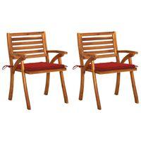 vidaXL Καρέκλες Τραπεζαρίας Κήπου 2 τεμ Μασίφ Ξύλο Ακακίας & Μαξιλάρια