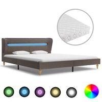 vidaXL Κρεβάτι με LED Χρώμα Taupe 160 x 200 εκ. Υφασμάτινο με Στρώμα
