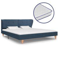 vidaXL Κρεβάτι Μπλε 160 x 200 εκ. Υφασμάτινο με Στρώμα Αφρού Μνήμης