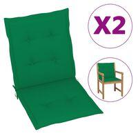 vidaXL Μαξιλάρια Καρέκλας Κήπου με Πλάτη 2 τεμ. Πράσινα 100x50x4 εκ.