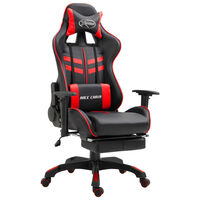 vidaXL Καρέκλα Gaming με Υποπόδιο Κόκκινη από Συνθετικό Δέρμα