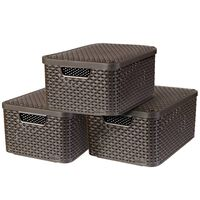 Curver Κουτιά Αποθήκευσης με Καπάκια Style 3 τεμ Καφέ Μέγεθος M 240655