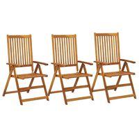 vidaXL Καρέκλες Κήπου Ανακλινόμενες 3 τεμ. από Μασίφ Ξύλο Ακακίας