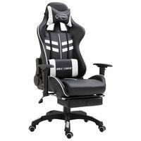 vidaXL Καρέκλα Gaming με Υποπόδιο Λευκή από Συνθετικό Δέρμα