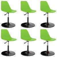 vidaXL Καρέκλες Τραπεζαρίας Περιστρεφόμενες 6 τεμ. Πράσινες PP