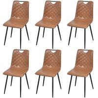 vidaXL Καρέκλες Τραπεζαρίας 6 τεμ. Ανοιχτό Καφέ από Συνθετικό Δέρμα