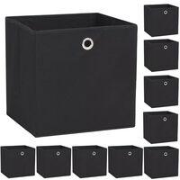 vidaXL Κουτιά Αποθήκευσης 10 τεμ. Μαύρα 32x32x32 εκ. Ύφασμα Non-woven