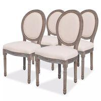 vidaXL Καρέκλες Τραπεζαρίας 4 τεμ. Κρεμ Υφασμάτινες