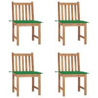 vidaXL Καρέκλες Κήπου 4 Τεμαχίων από Μασίφ Ξύλο Teak με Μαξιλάρια