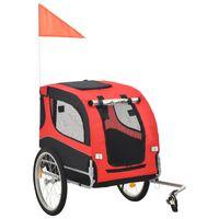 vidaXL Τρέιλερ Ποδηλάτου Μεταφοράς Σκύλων Κόκκινο / Μαύρο