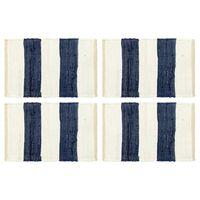 vidaXL Σουπλά Chindi 4 τεμ. Ριγέ Μπλε / Λευκό 30 x 45 εκ.