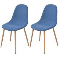 vidaXL Καρέκλες Τραπεζαρίας 2 τεμ. Μπλε Υφασμάτινες