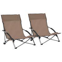 vidaXL Καρέκλες Παραλίας Πτυσσόμενες 2 τεμ. Taupe Υφασμάτινες