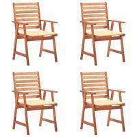 vidaXL Καρέκλες Τραπεζαρίας Εξ. Χώρου 4 τεμ. Ξύλο Ακακίας με Μαξιλάρια