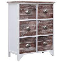 vidaXL Συρταριέρα με 6 Συρτάρια Καφέ 60x30x75 εκ. από Ξύλο Παυλώνιας