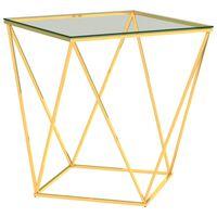 vidaXL Τραπεζάκι Σαλονιού Χρυσό/Διαφανές 50x50x55 εκ Ανοξείδωτο Ατσάλι