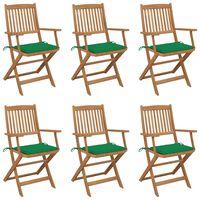 vidaXL Καρέκλες Κήπου Πτυσσόμενες 6 τεμ Μασίφ Ξύλο Ακακίας & Μαξιλάρια