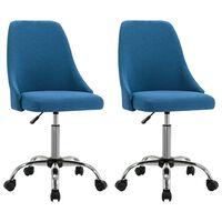vidaXL Καρέκλες Γραφείου Τροχήλατες 2 τεμ. Μπλε Υφασμάτινες