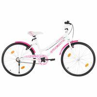 vidaXL Ποδήλατο Παιδικό Ροζ / Λευκό 24 Ιντσών