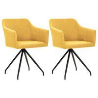vidaXL Καρέκλες Τραπεζαρίας Περιστρεφόμενες 2 τεμ. Μουσταρδί Ύφασμα