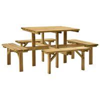 vidaXL Τραπέζι Πικ-νικ με 4 Πάγκους 172x172x73 εκ. Εμποτ. Ξύλο Πεύκου