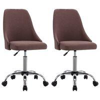 vidaXL Καρέκλες Γραφείου Τροχήλατες 2 τεμ. Taupe Υφασμάτινες
