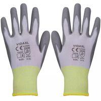 vidaXL Γάντια Εργασίας 24 Ζεύγη Λευκό/Γκρι Μέγεθος 10/XL Πολυουρεθάνη