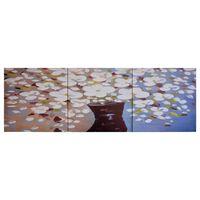 vidaXL Πίνακας σε Καμβά Σετ Λουλούδια σε Βάζο Πολύχρωμος 120 x 40 εκ.
