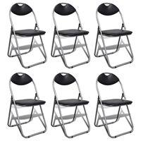 vidaXL Καρέκλες Τραπεζαρίας Πτυσσόμενες 6 τεμ. Μαύρες Δερματίνη/Ατσάλι