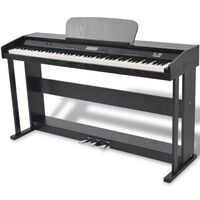 vidaXL Πιάνο Ψηφιακό 88 Πλήκτρων με Πετάλια Μαύρο από Φύλλο Μελαμίνης