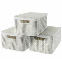 Curver Κουτιά Αποθήκευσης + Καπάκια Style 3 τεμ Λευκά Μέγεθος M 240654