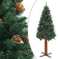 vidaXL Χριστουγεννιάτικο Δέντρο Slim Πράσινο 180 εκ. Ξύλο/Κουκουνάρια