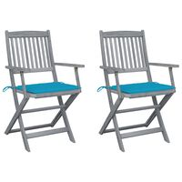 vidaXL Καρέκλες Εξωτ. Χώρου Πτυσσόμενες 2 τεμ Ξύλο Ακακίας & Μαξιλάρια