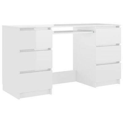 vidaXL Γραφείο Γυαλιστερό Λευκό 140 x 50 x 77 εκ. από Μοριοσανίδα