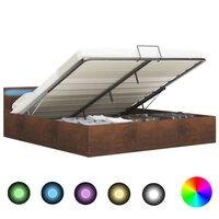 vidaXL Πλαίσιο Κρεβατιού με Αποθηκ. Χώρο/LED Καφέ 160x200 εκ. Ύφασμα