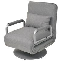 vidaXL Πολυθρόνα Κρεβάτι Περιστρεφόμενη Ανοιχτό Γκρι Υφασμάτινη