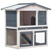 vidaXL Κλουβί Κουνελιών Εξωτερικού Χώρου με 3 Πόρτες Γκρι Ξύλινο