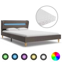 vidaXL Κρεβάτι με LED Χρώμα Taupe 120 x 200 εκ. Υφασμάτινο με Στρώμα