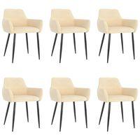 vidaXL Καρέκλες Τραπεζαρίας 6 τεμ. Κρεμ Βελούδινες