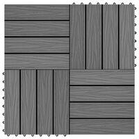 vidaXL Πλακάκια Deck 11 τεμ. Ανάγλυφα Γκρι 30 x 30 εκ. 1 μ² από WPC
