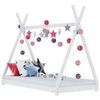 vidaXL Πλαίσιο Κρεβατιού Παιδικό Λευκό 90 x 200 εκ. Μασίφ Ξύλο Πεύκου