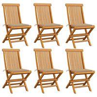 vidaXL Καρέκλες Κήπου 6 τεμ. από Μασίφ Ξύλο Teak με Μπεζ Μαξιλάρια