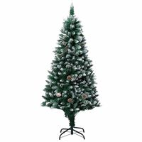 vidaXL Χριστουγεννιάτικο Δέντρο 180 εκ. με Κουκουνάρια/Λευκό Χιόνι