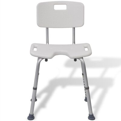 vidaXL Καρέκλα Μπάνιου με Πλάτη Λευκή Αλουμινίου