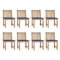 vidaXL Καρέκλες Κήπου 8 Τεμαχίων από Μασίφ Ξύλο Teak με Μαξιλάρια
