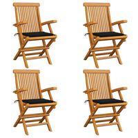 vidaXL Καρέκλες Κήπου 4 τεμ. από Μασίφ Ξύλο Teak με Μαύρα Μαξιλάρια